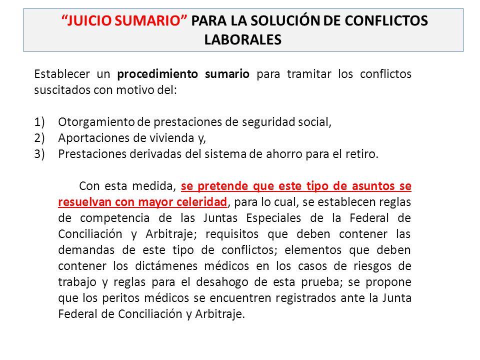 JUICIO SUMARIO PARA LA SOLUCIÓN DE CONFLICTOS LABORALES