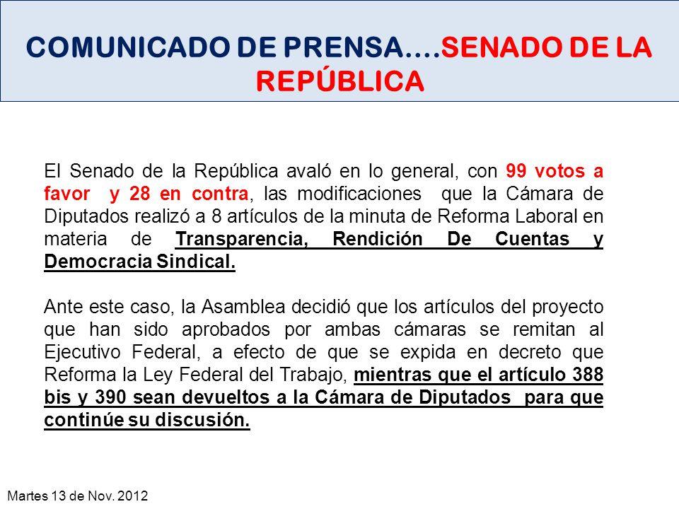 COMUNICADO DE PRENSA….SENADO DE LA REPÚBLICA
