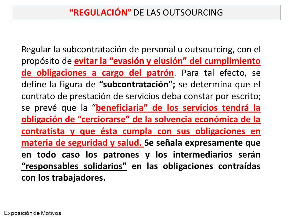 REGULACIÓN DE LAS OUTSOURCING