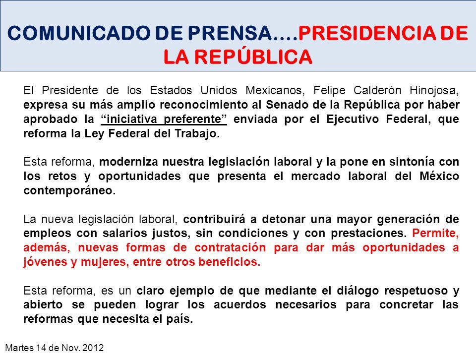 COMUNICADO DE PRENSA….PRESIDENCIA DE LA REPÚBLICA