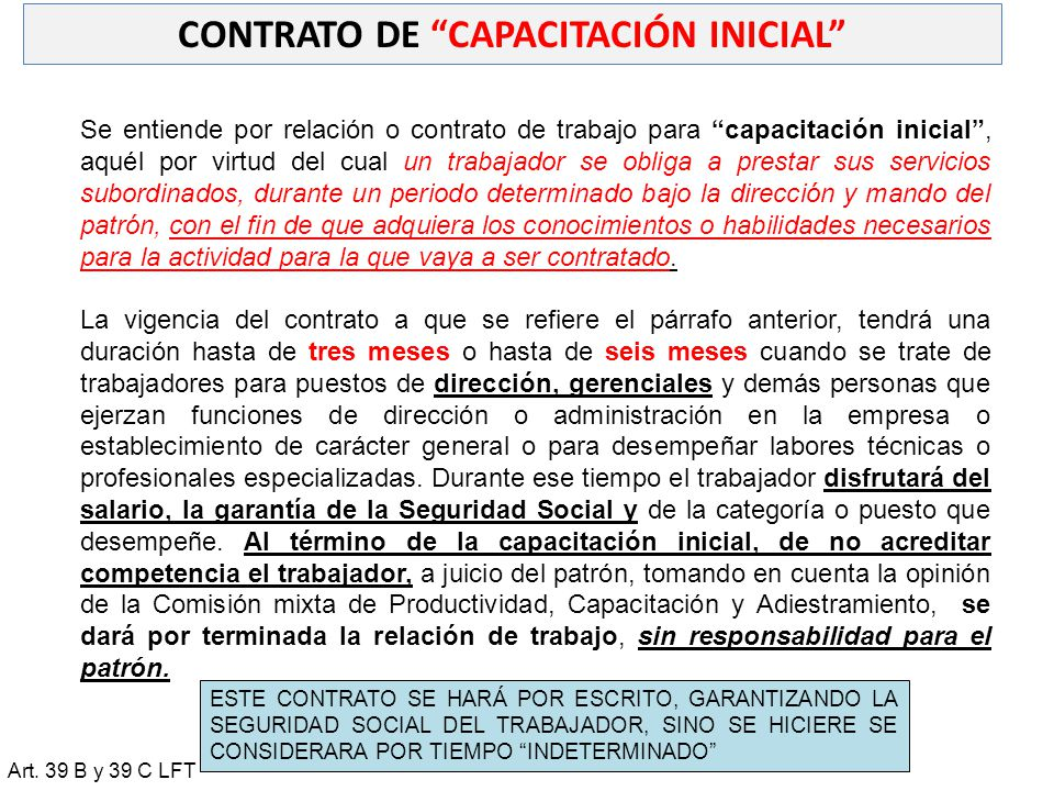 CONTRATO DE CAPACITACIÓN INICIAL