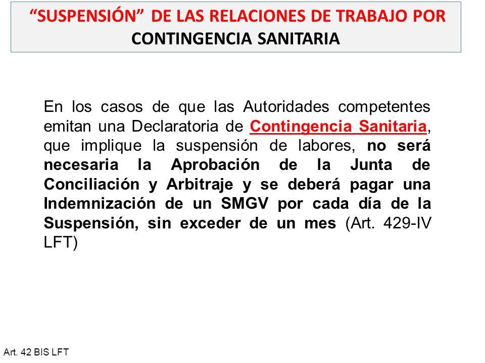 SUSPENSIÓN DE LAS RELACIONES DE TRABAJO POR CONTINGENCIA SANITARIA