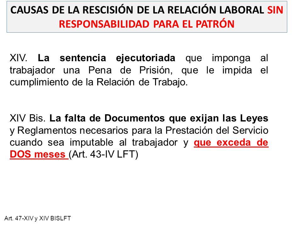 CAUSAS DE LA RESCISIÓN DE LA RELACIÓN LABORAL SIN RESPONSABILIDAD PARA EL PATRÓN