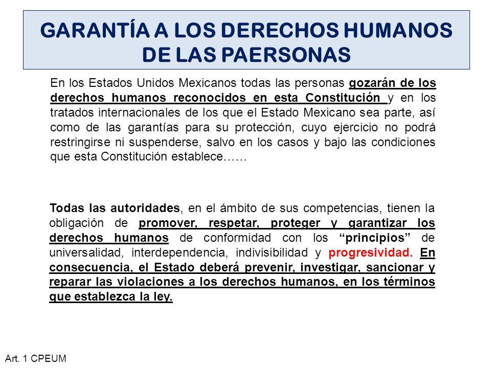 GARANTÍA A LOS DERECHOS HUMANOS DE LAS PAERSONAS