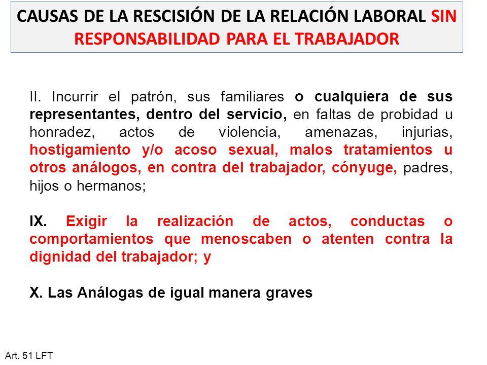 CAUSAS DE LA RESCISIÓN DE LA RELACIÓN LABORAL SIN RESPONSABILIDAD PARA EL TRABAJADOR