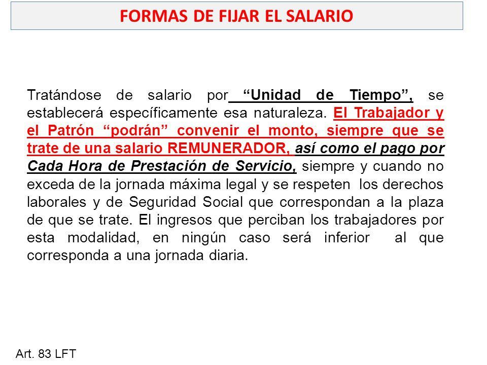 FORMAS DE FIJAR EL SALARIO