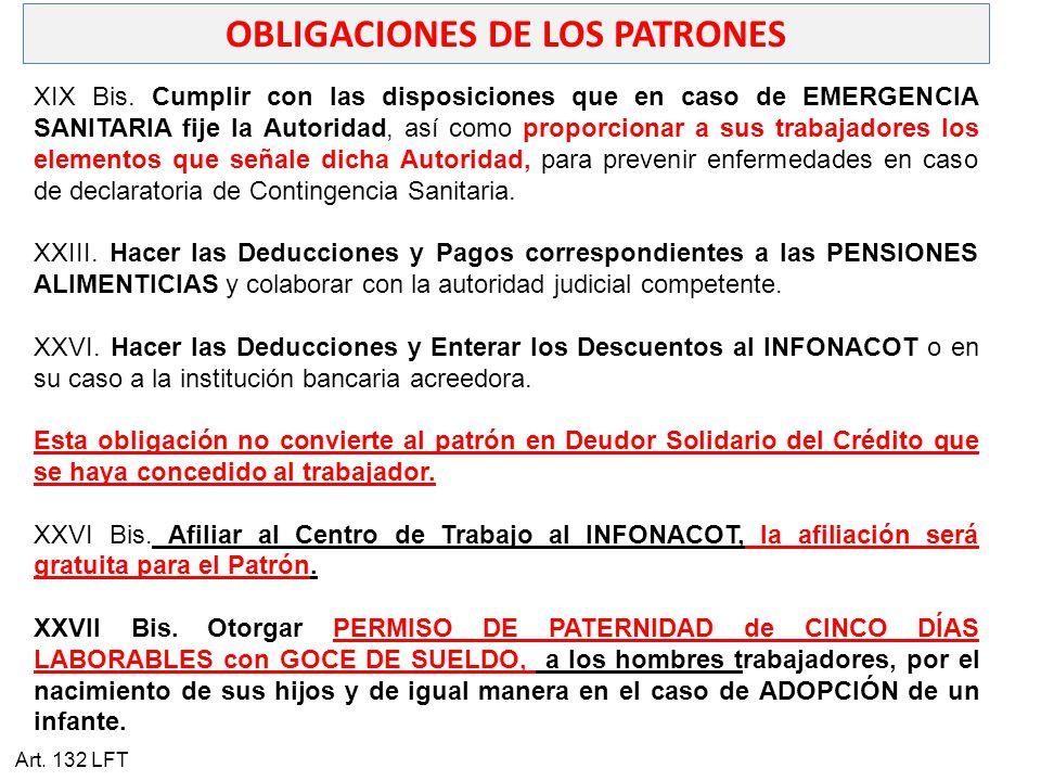 OBLIGACIONES DE LOS PATRONES