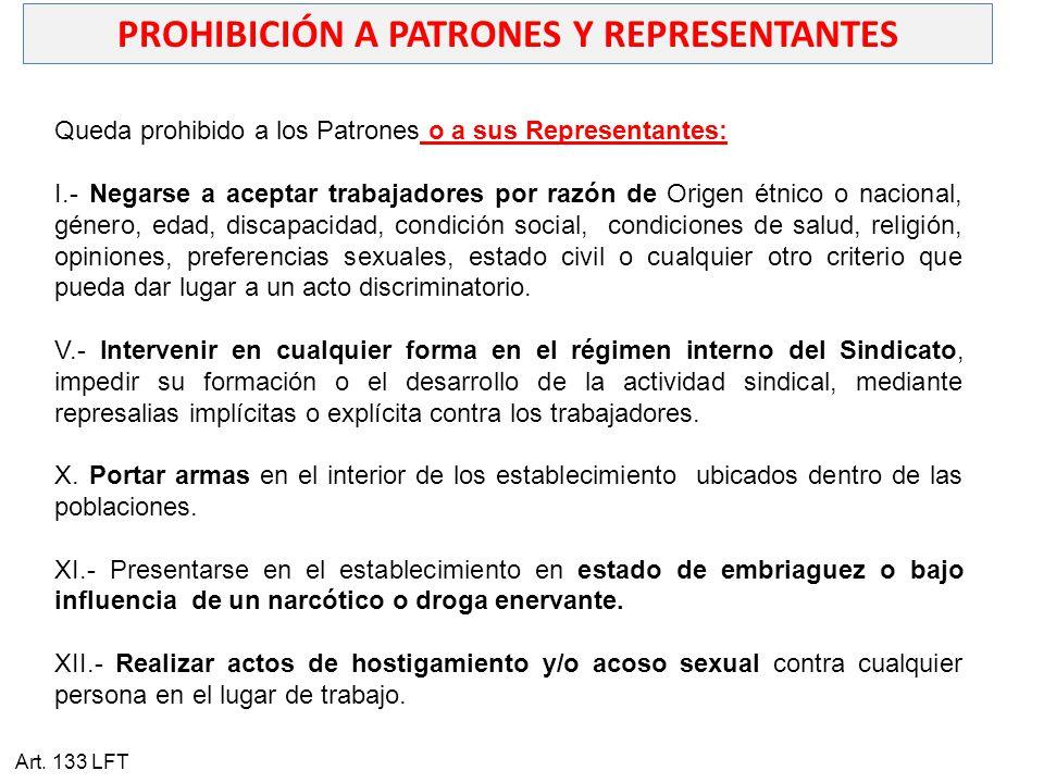 PROHIBICIÓN A PATRONES Y REPRESENTANTES
