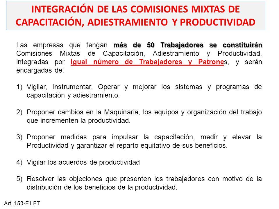 INTEGRACIÓN DE LAS COMISIONES MIXTAS DE CAPACITACIÓN, ADIESTRAMIENTO Y PRODUCTIVIDAD