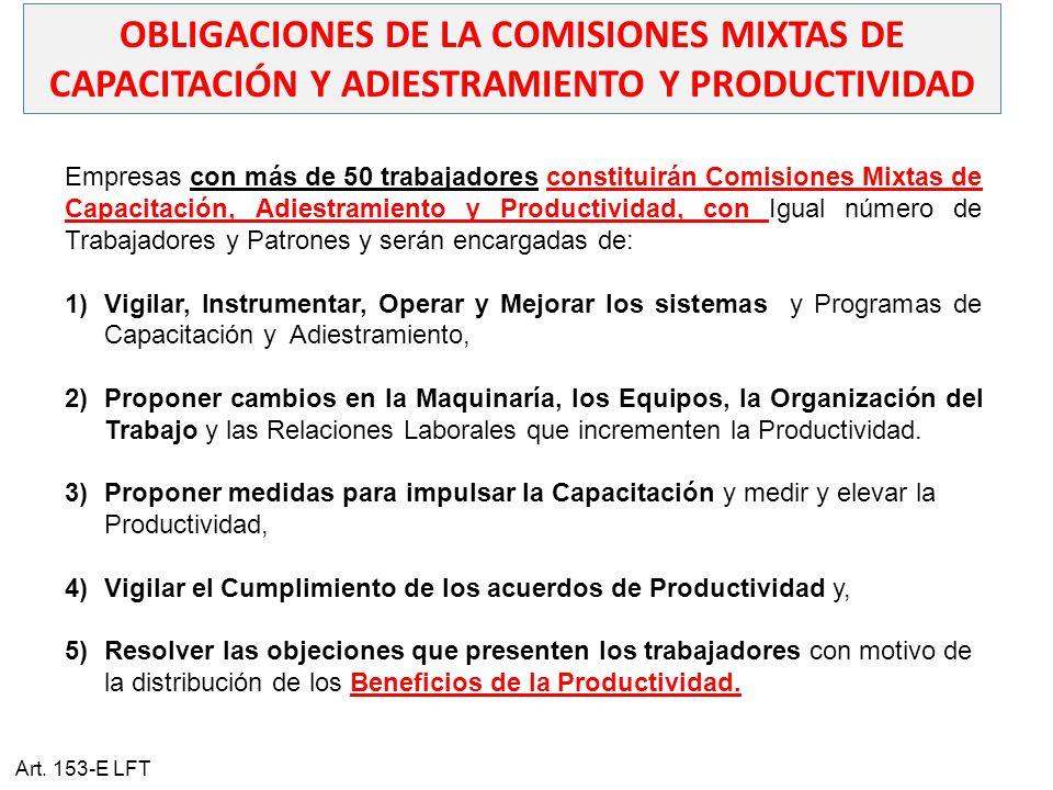 OBLIGACIONES DE LA COMISIONES MIXTAS DE CAPACITACIÓN Y ADIESTRAMIENTO Y PRODUCTIVIDAD