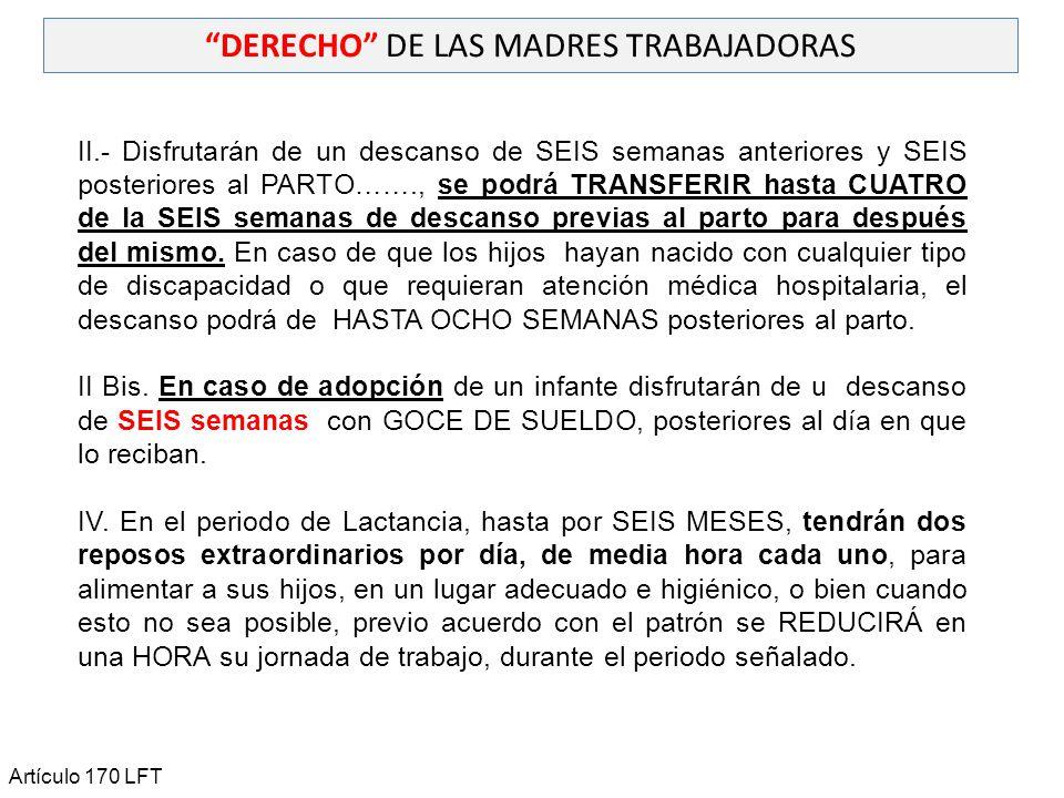 DERECHO DE LAS MADRES TRABAJADORAS