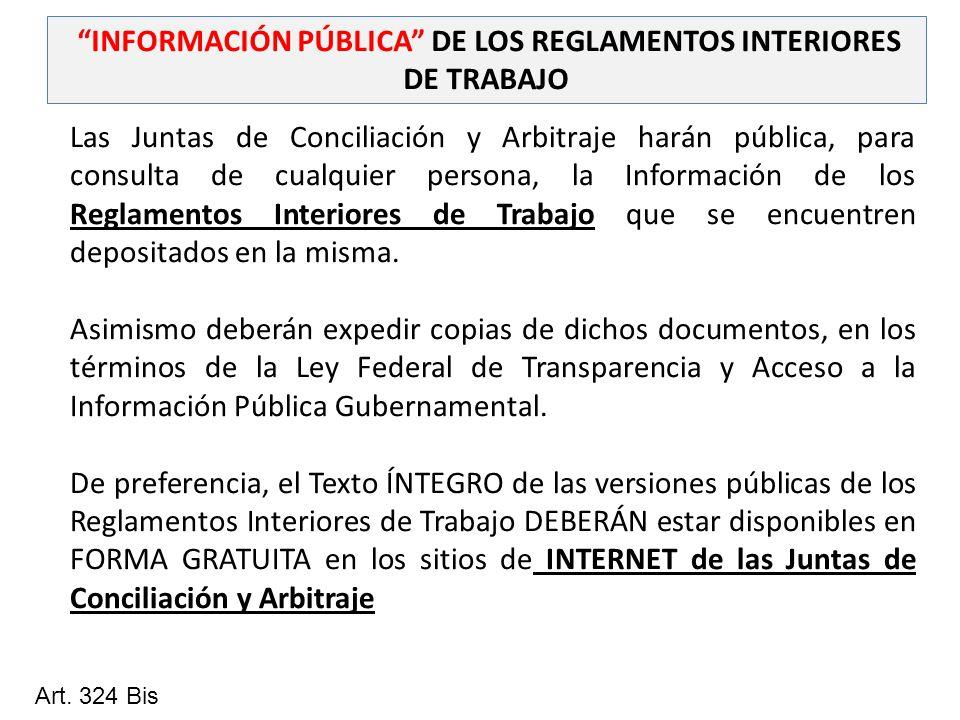INFORMACIÓN PÚBLICA DE LOS REGLAMENTOS INTERIORES DE TRABAJO