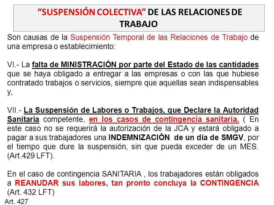 SUSPENSIÓN COLECTIVA DE LAS RELACIONES DE TRABAJO