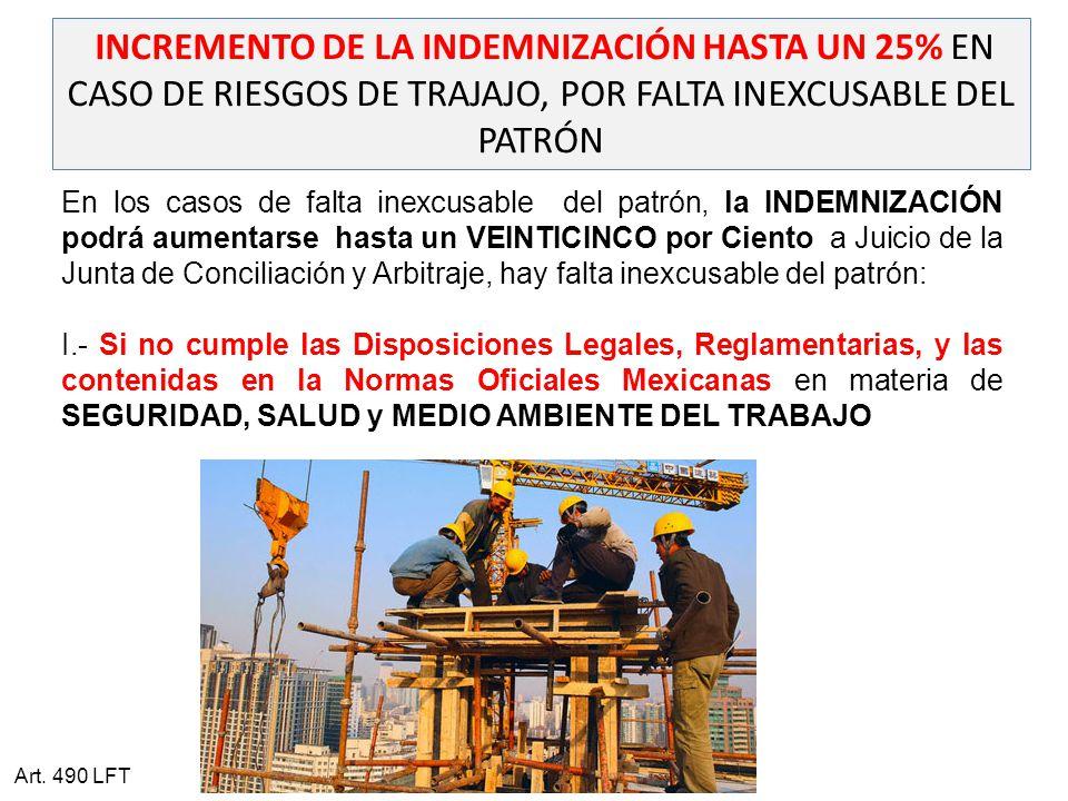 INCREMENTO DE LA INDEMNIZACIÓN HASTA UN 25% EN CASO DE RIESGOS DE TRAJAJO, POR FALTA INEXCUSABLE DEL PATRÓN