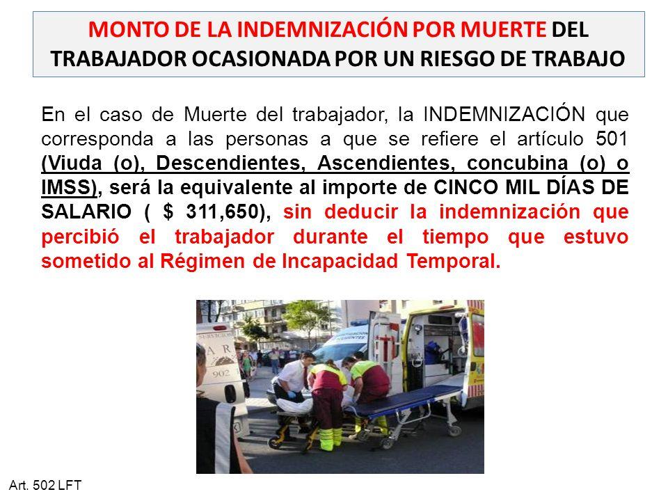 MONTO DE LA INDEMNIZACIÓN POR MUERTE DEL TRABAJADOR OCASIONADA POR UN RIESGO DE TRABAJO