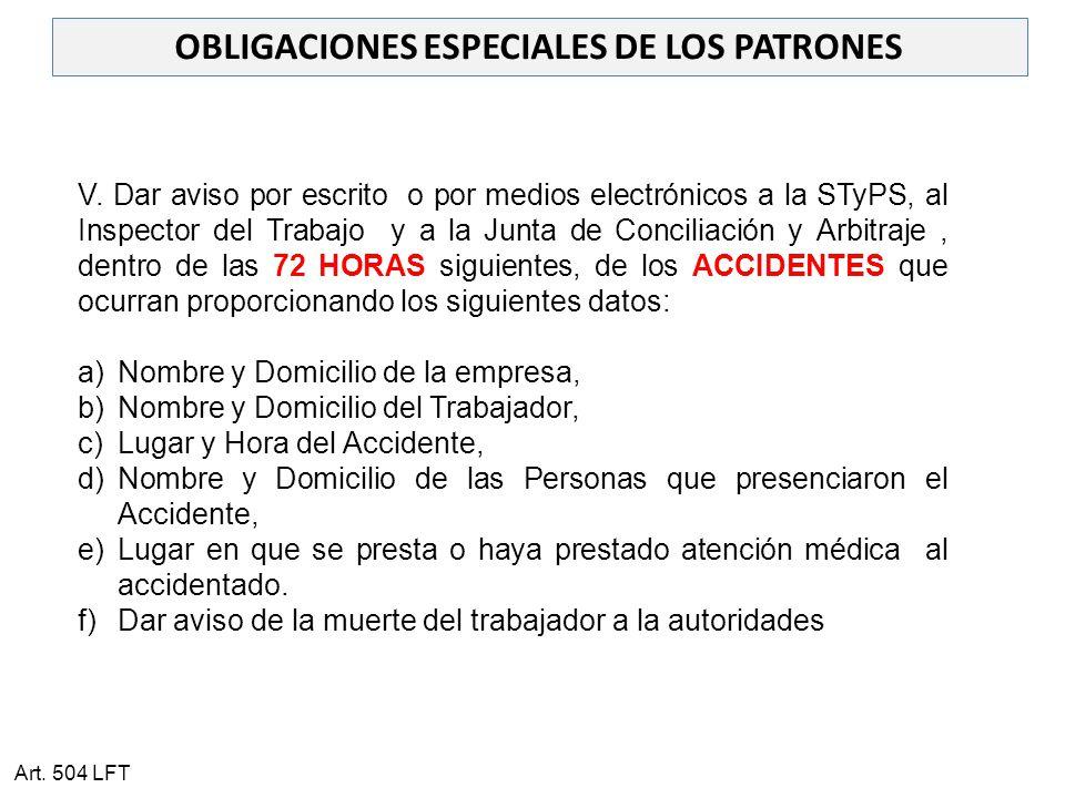 OBLIGACIONES ESPECIALES DE LOS PATRONES