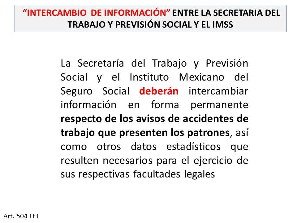 INTERCAMBIO DE INFORMACIÓN ENTRE LA SECRETARIA DEL TRABAJO Y PREVISIÓN SOCIAL Y EL IMSS