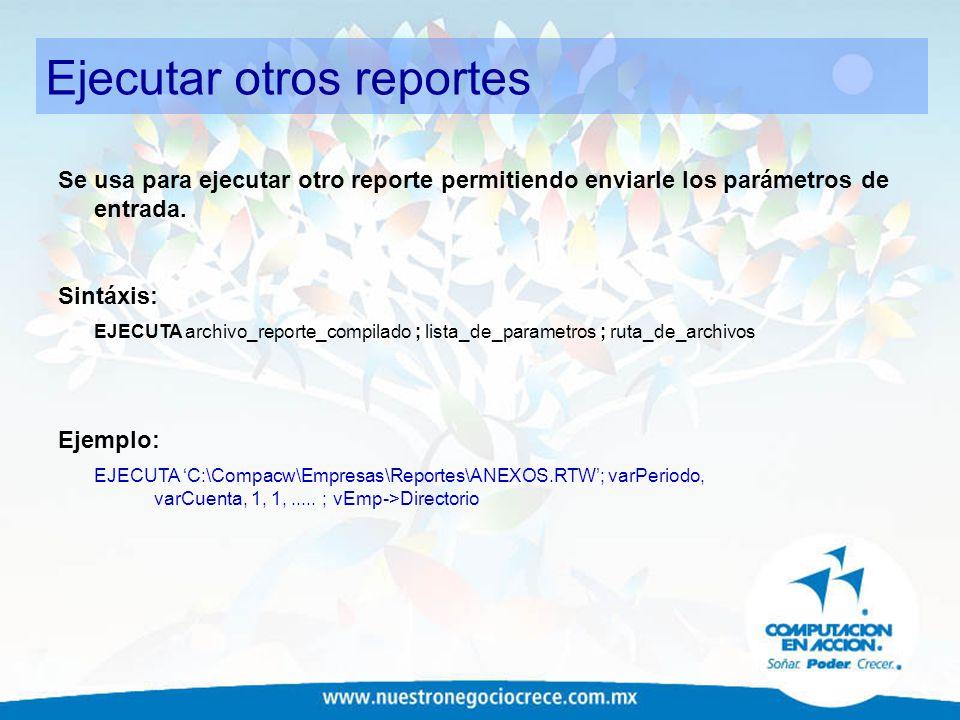 Ejecutar otros reportes