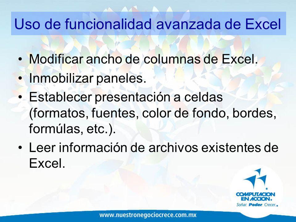 Uso de funcionalidad avanzada de Excel
