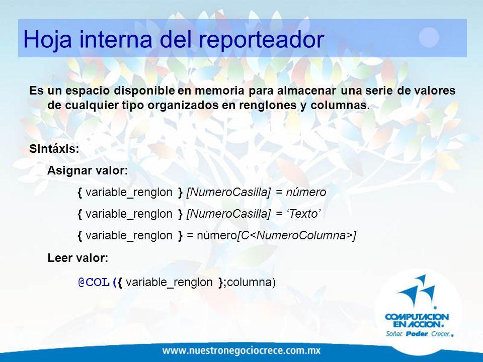 Hoja interna del reporteador