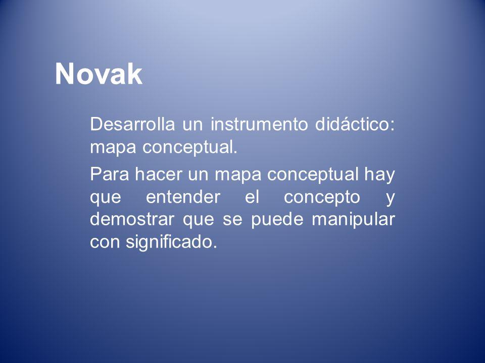 Novak Desarrolla un instrumento didáctico: mapa conceptual.