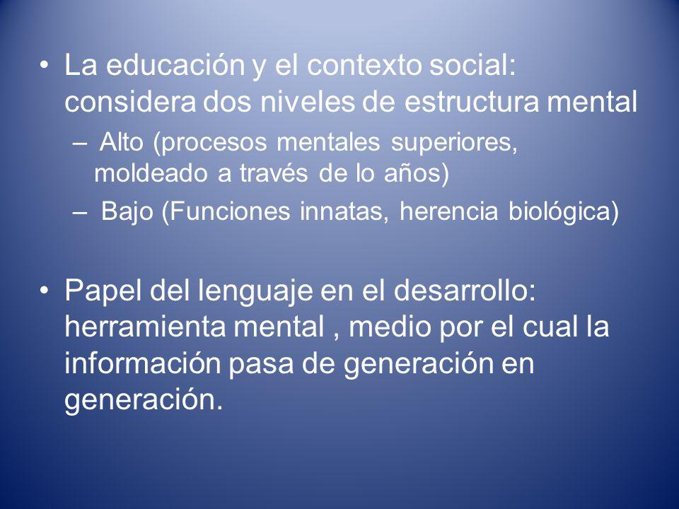 La educación y el contexto social: considera dos niveles de estructura mental