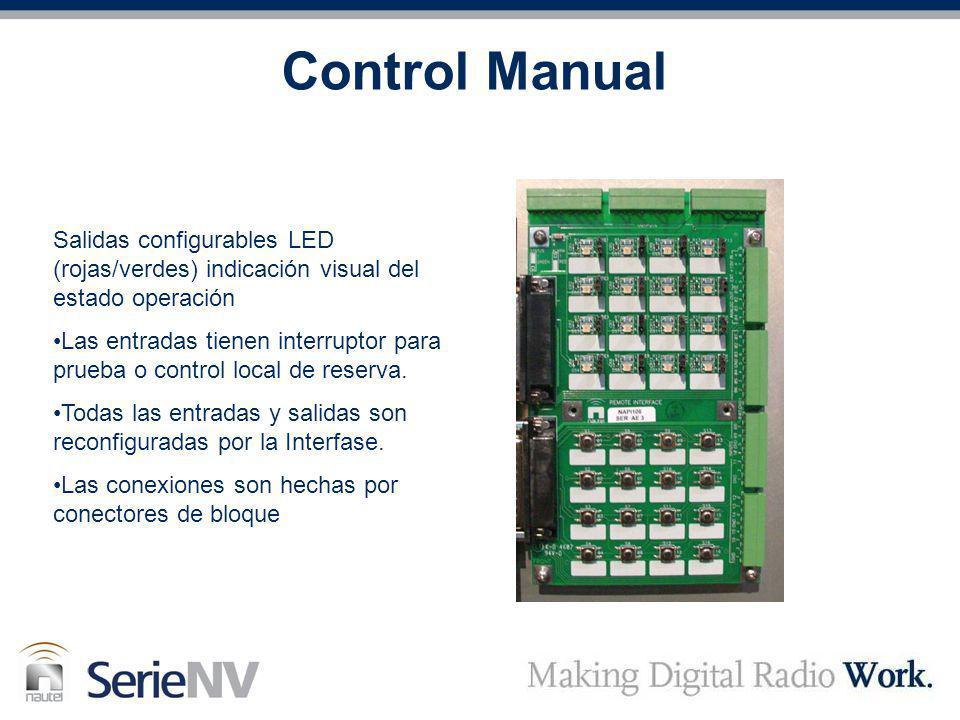 Control Manual Salidas configurables LED (rojas/verdes) indicación visual del estado operación.