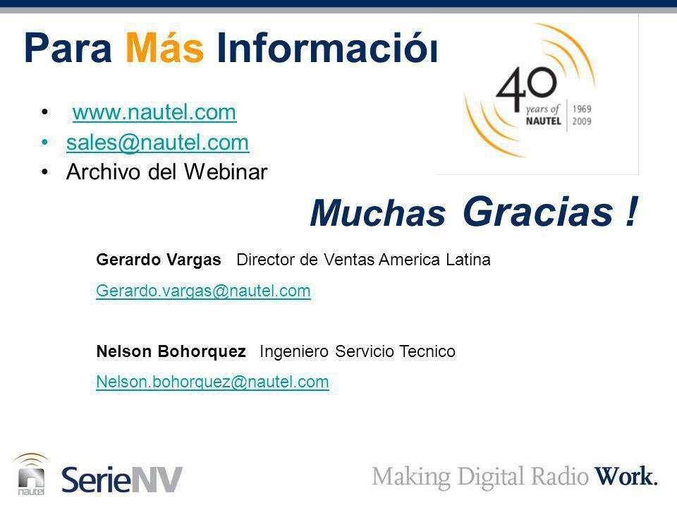 Para Más Información Muchas Gracias ! www.nautel.com sales@nautel.com