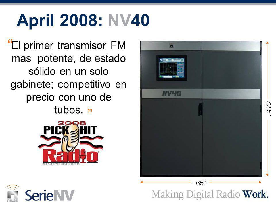 April 2008: NV40 El primer transmisor FM mas potente, de estado sólido en un solo gabinete; competitivo en precio con uno de tubos.