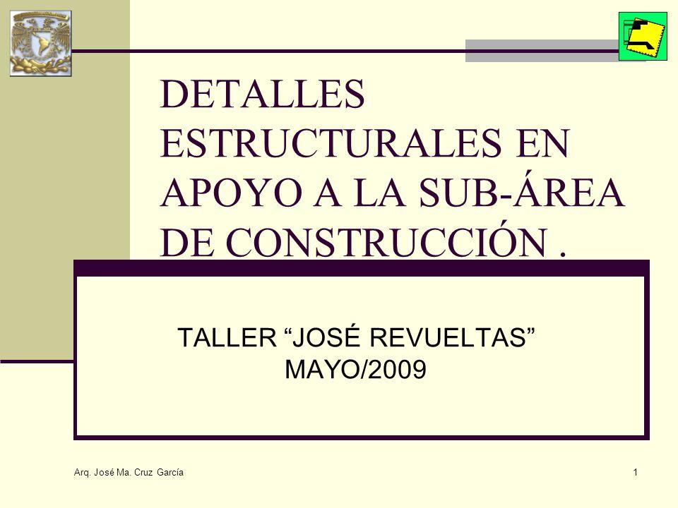 DETALLES ESTRUCTURALES EN APOYO A LA SUB-ÁREA DE CONSTRUCCIÓN .