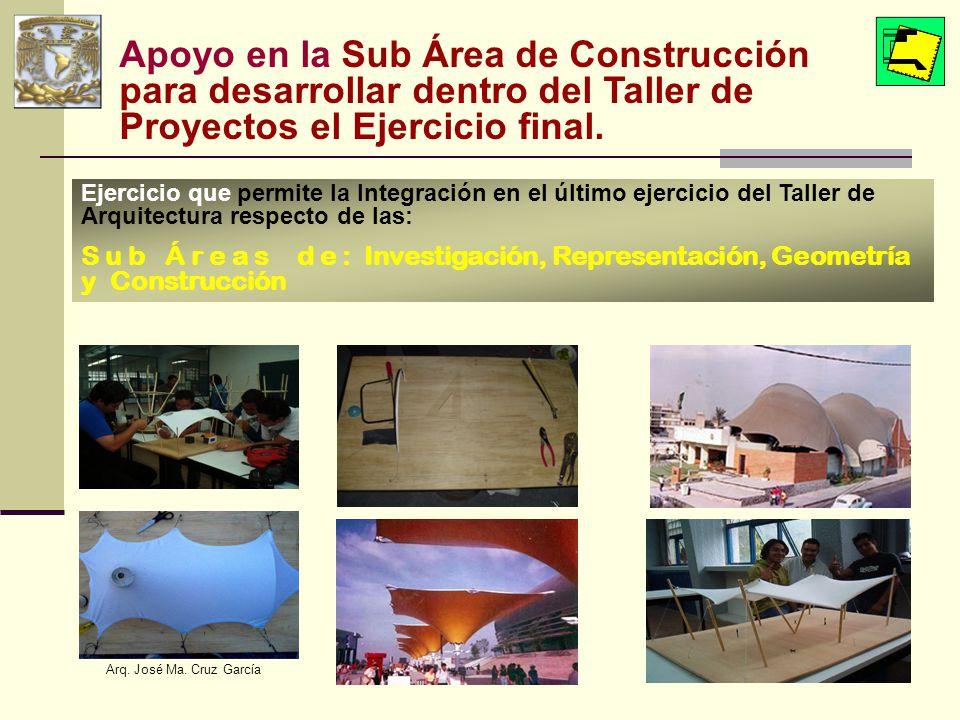 Apoyo en la Sub Área de Construcción para desarrollar dentro del Taller de Proyectos el Ejercicio final.