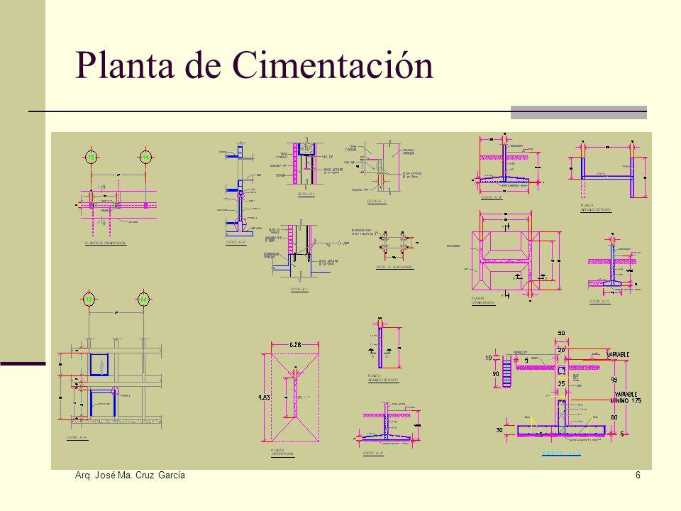Planta de Cimentación Arq. José Ma. Cruz García