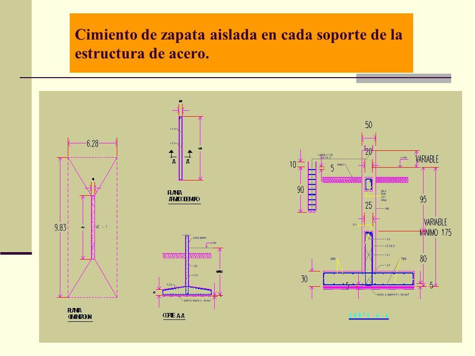 Cimiento de zapata aislada en cada soporte de la estructura de acero.