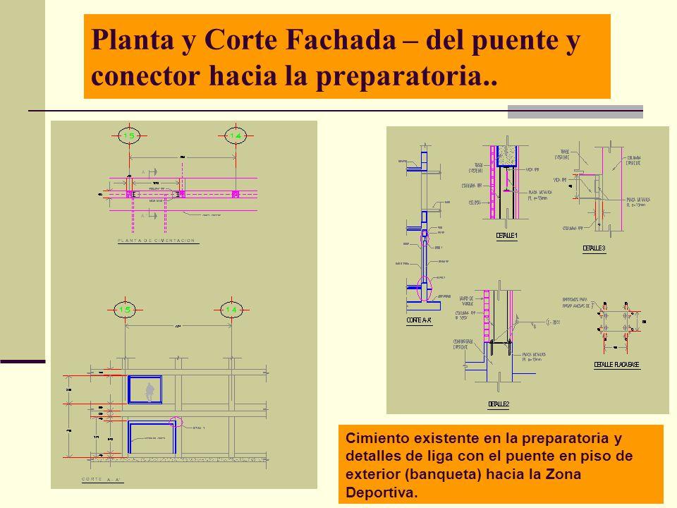 Planta y Corte Fachada – del puente y conector hacia la preparatoria..