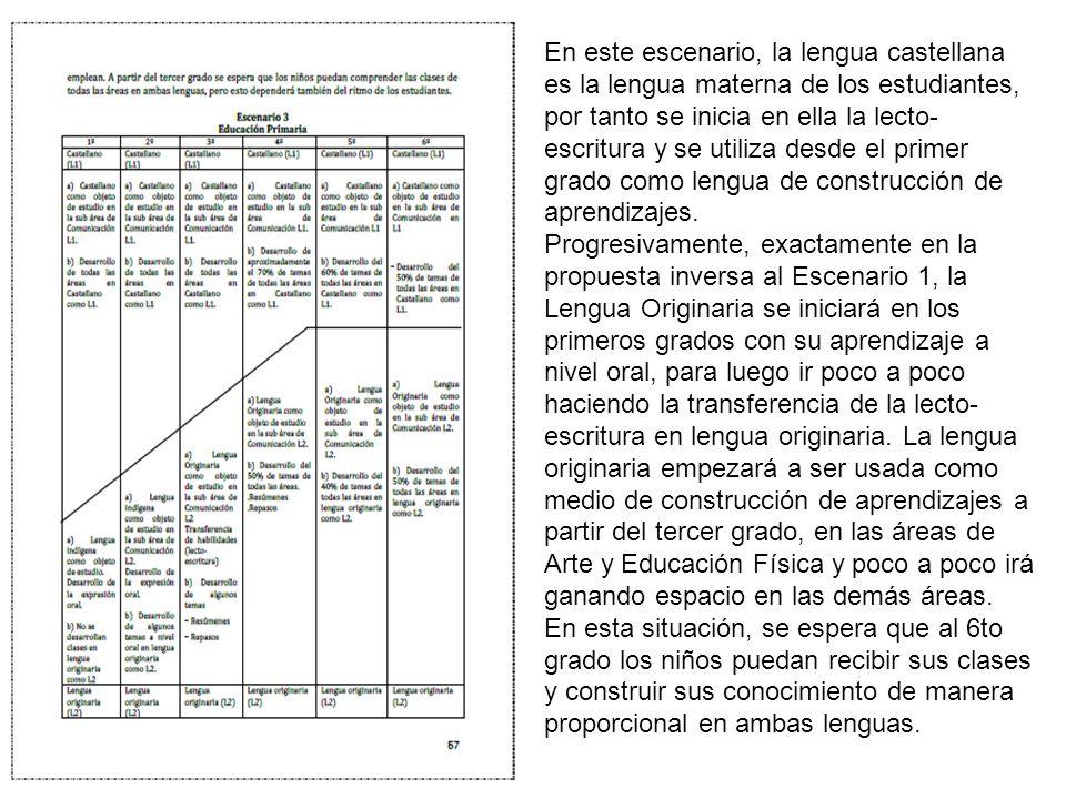 En este escenario, la lengua castellana es la lengua materna de los estudiantes, por tanto se inicia en ella la lecto-escritura y se utiliza desde el primer grado como lengua de construcción de aprendizajes.