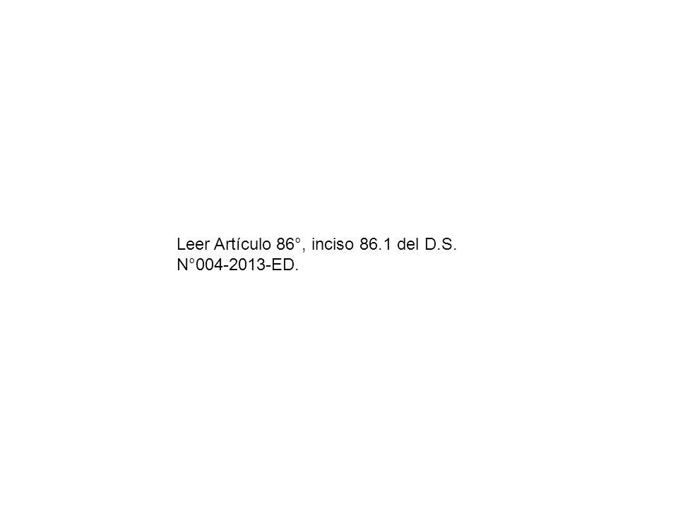 Leer Artículo 86°, inciso 86.1 del D.S. N°004-2013-ED.