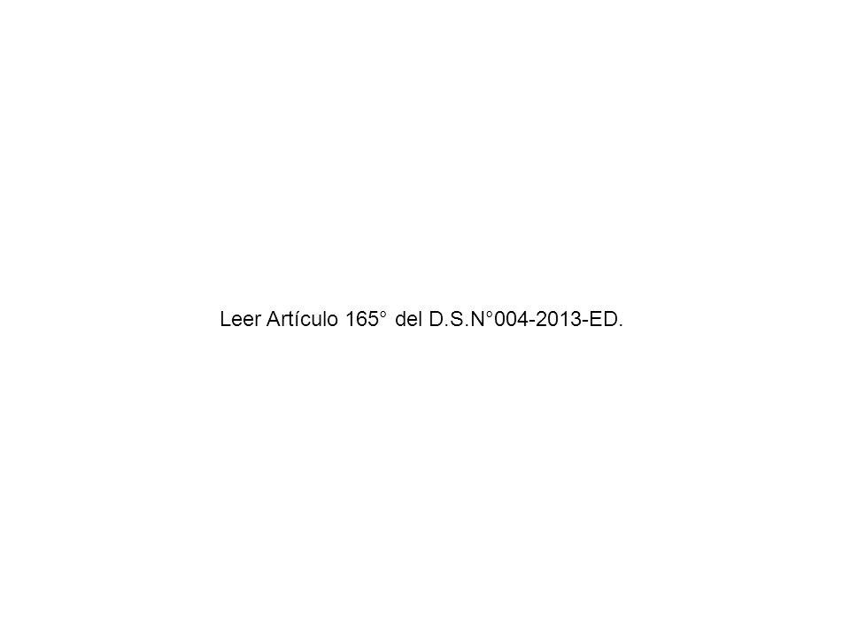 Leer Artículo 165° del D.S.N°004-2013-ED.