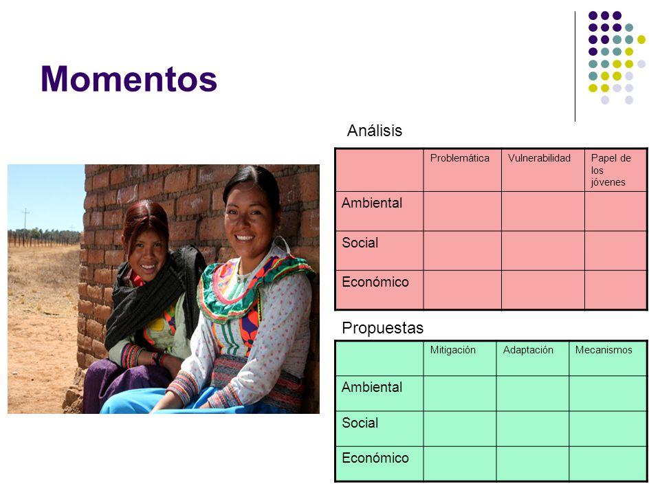 Momentos Análisis Propuestas Ambiental Social Económico Ambiental