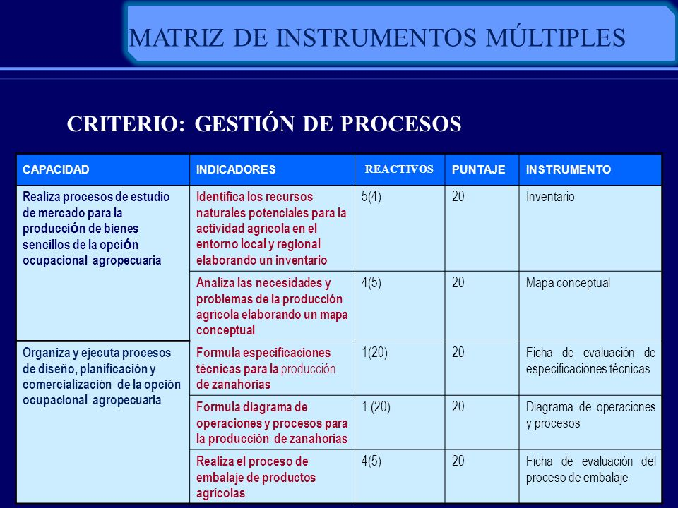 MATRIZ DE INSTRUMENTOS MÚLTIPLES