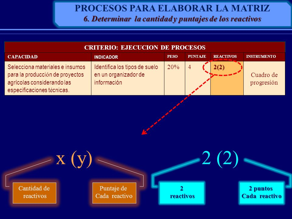x (y) 2 (2) PROCESOS PARA ELABORAR LA MATRIZ