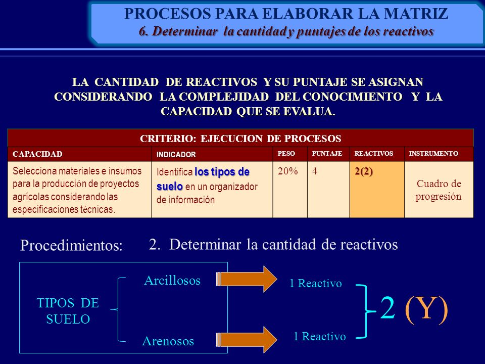 2 (Y) PROCESOS PARA ELABORAR LA MATRIZ Procedimientos: