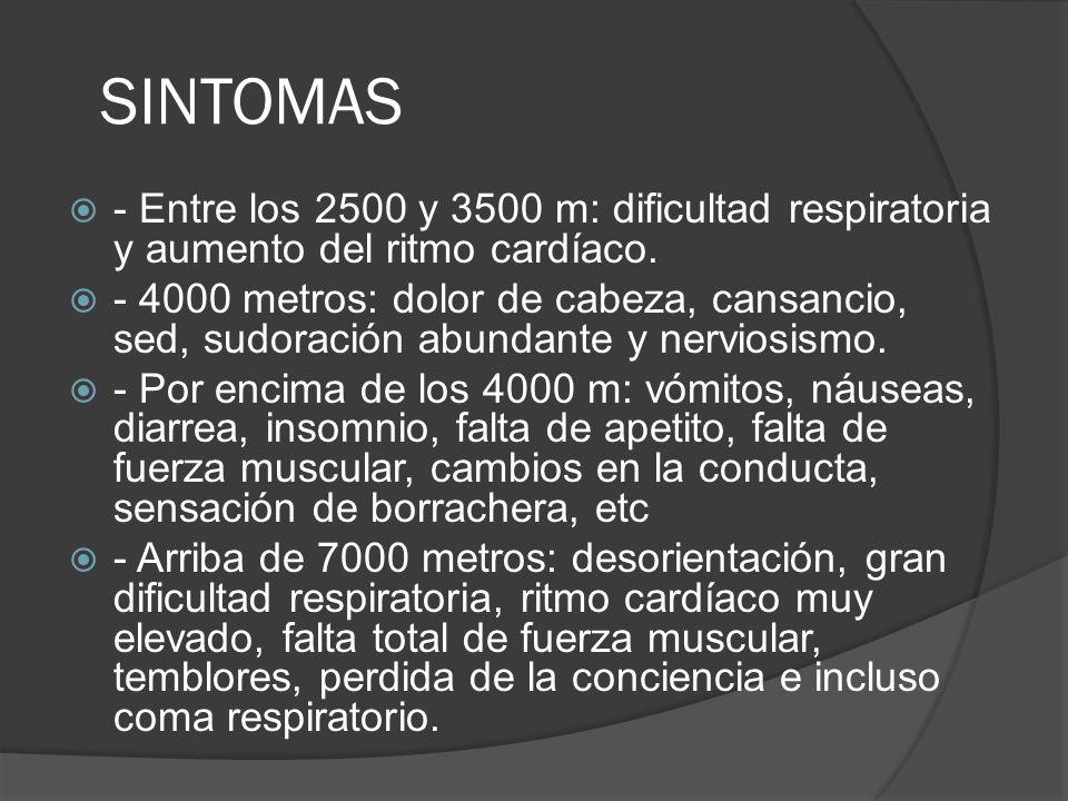 SINTOMAS - Entre los 2500 y 3500 m: dificultad respiratoria y aumento del ritmo cardíaco.