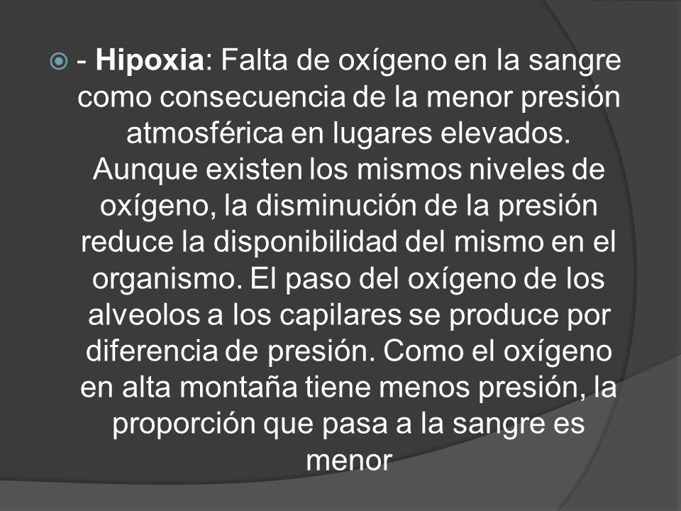 - Hipoxia: Falta de oxígeno en la sangre como consecuencia de la menor presión atmosférica en lugares elevados.