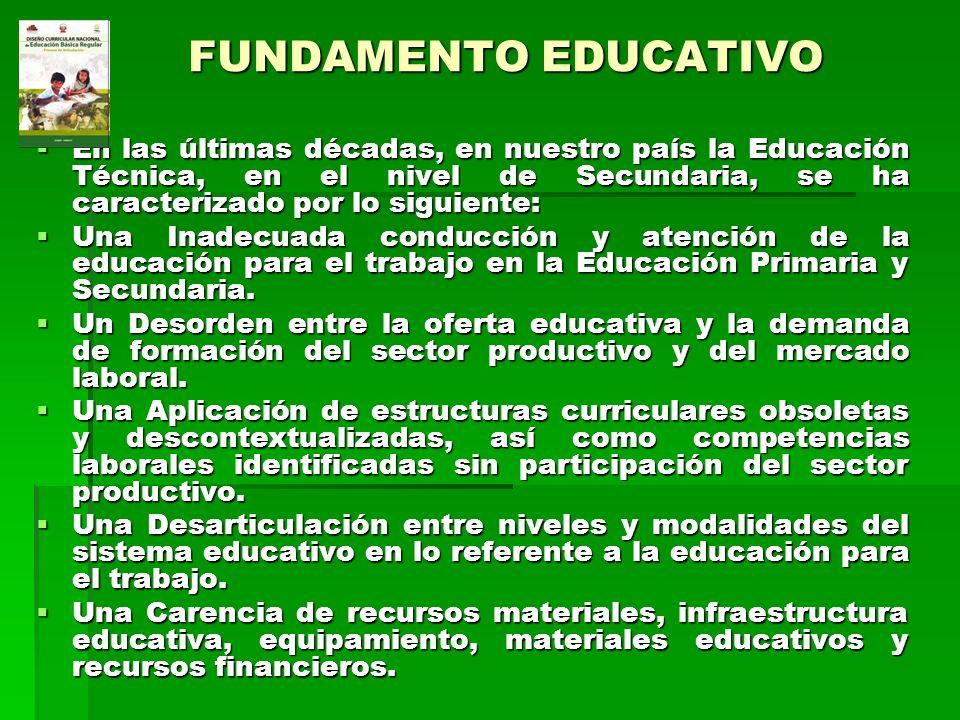 FUNDAMENTO EDUCATIVO En las últimas décadas, en nuestro país la Educación Técnica, en el nivel de Secundaria, se ha caracterizado por lo siguiente: