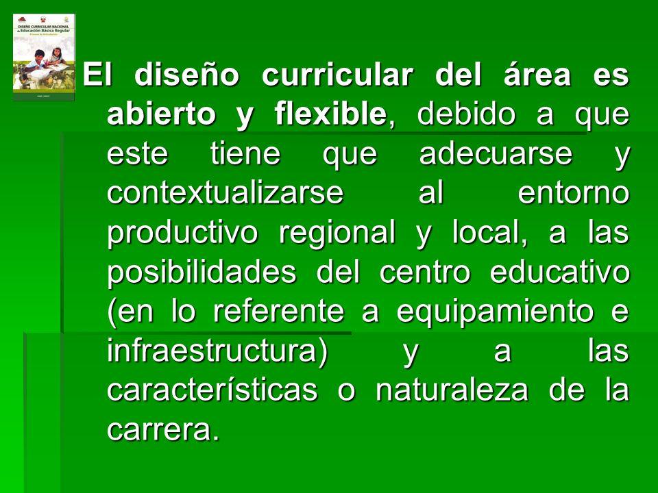 El diseño curricular del área es abierto y flexible, debido a que este tiene que adecuarse y contextualizarse al entorno productivo regional y local, a las posibilidades del centro educativo (en lo referente a equipamiento e infraestructura) y a las características o naturaleza de la carrera.