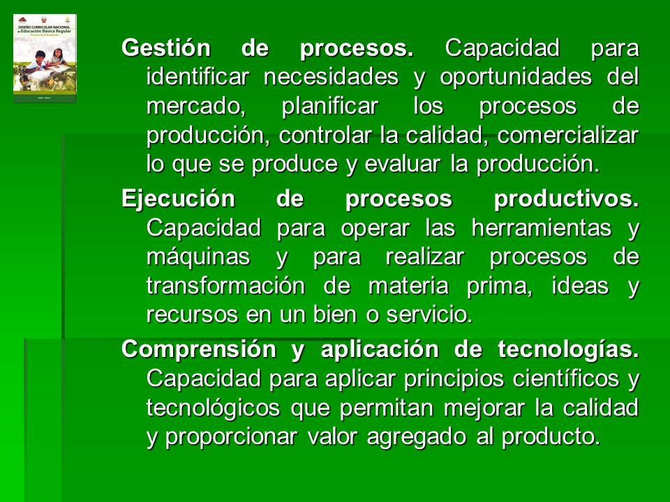 Gestión de procesos. Capacidad para identificar necesidades y oportunidades del mercado, planificar los procesos de producción, controlar la calidad, comercializar lo que se produce y evaluar la producción.