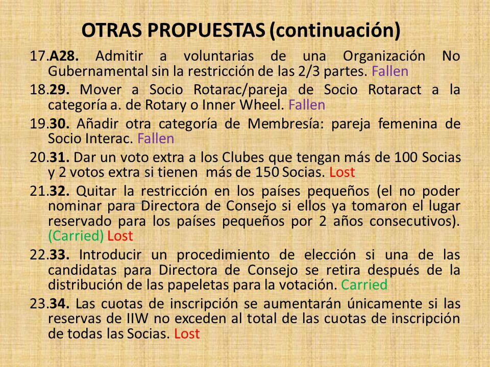 OTRAS PROPUESTAS (continuación)