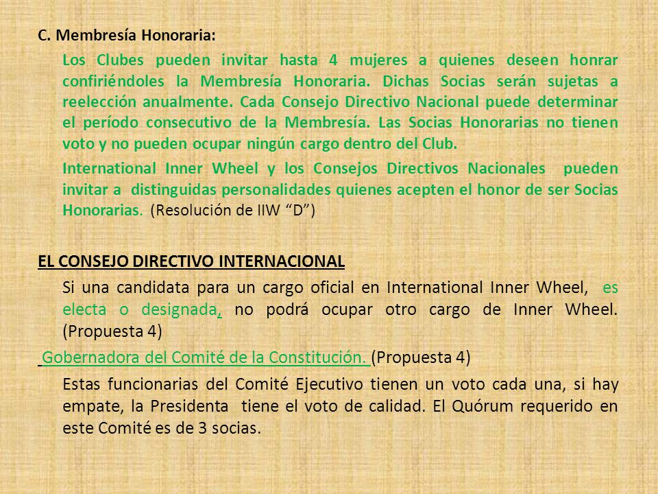 EL CONSEJO DIRECTIVO INTERNACIONAL
