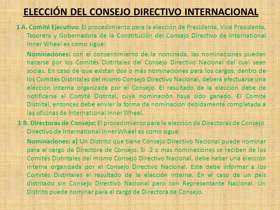ELECCIÓN DEL CONSEJO DIRECTIVO INTERNACIONAL