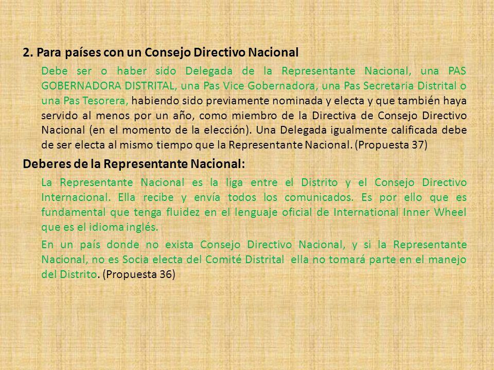 2. Para países con un Consejo Directivo Nacional